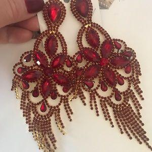 Red Large Chandelier Fringe Pageant Earrings